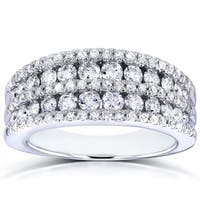 Annello by Kobelli 10k White Gold 1ct TDW Multi-row Diamond Anniversary Band