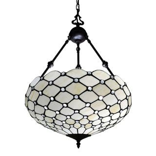 Art glass ceiling lights for less overstock tiffany style jeweled 18 inch hanging lamp mozeypictures Images