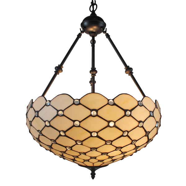 Tiffany Style Jeweled 18-inch Hanging Lamp