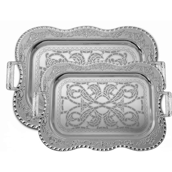 Alpine cuisine silvertone 2 piece serving tray set free for Alpine cuisine flatware