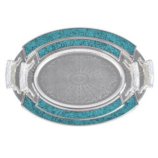 Alpine cuisine silvertone turquoise 2 piece tray set for Alpine cuisine flatware