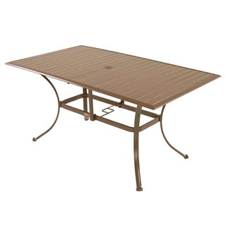 Panama Jack Island Breeze Slatted Aluminum Dining Table with Umbrella Hole