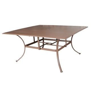 Panama Jack Island Breeze Slatted Aluminum Square Dining Table with Umbrella Hole