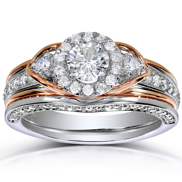 Art Deco Unique Diamond Wedding Ring 14k Two Tone Gold: Annello By Kobelli 14k 2-tone Gold 1ct TDW Round-cut Halo