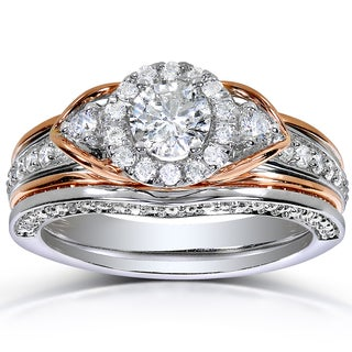 Annello by Kobelli 14k 2-tone Gold 1ct TDW Round-cut Halo Art Deco Diamond Bridal Set