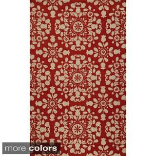 Uzbek Exhale Blue Hand-Hooked Wool Indoor Rug (8' x 10')