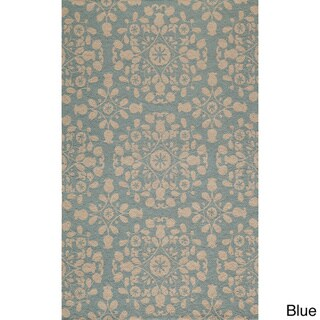 Uzbek Exhale Blue Hand-Hooked Wool Indoor Rug (8' x 10')