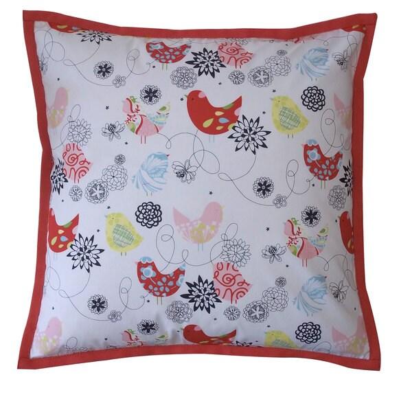 "Handmade Songbird Orange Kids Animal Print Pillow - 20"" x 20"""