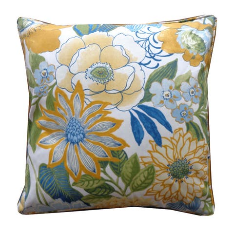 """Handmade Suave Yellow Floral Pillow - 20"""" x 20"""""""