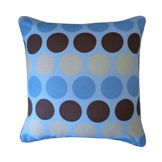 "Handmade Circle Blue Kids Polka Dot Pillow - 20"" x 20"""