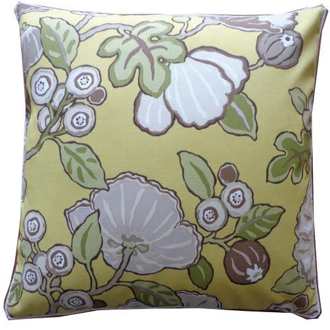 """Handmade Happy Chart Floral Pillow - 20"""" x 20"""""""