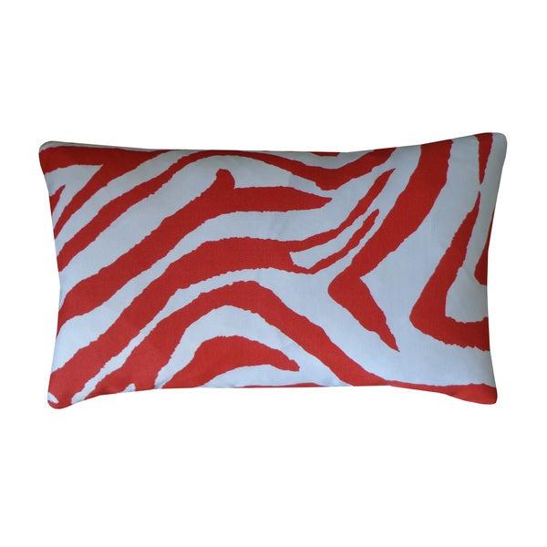 "Handmade Zebra Red Animal Print Pillow - 12"" x 20"""