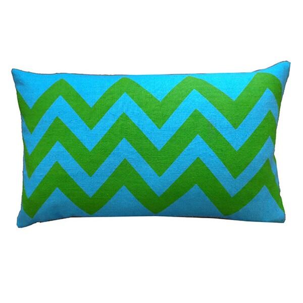 "Handmade Tip Turquoise Kids Chevron Pillow - 12"" x 20"""