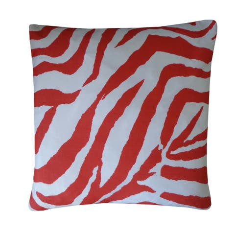 Jiti Red Zebra Animal Print Modern Sunbrella Outdoor Pillow - 20 x 20 - 20 x 20