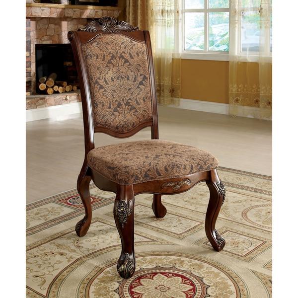 Furniture of America Eiko Antique Cherry Elegant Dining Chair (Set of 2)