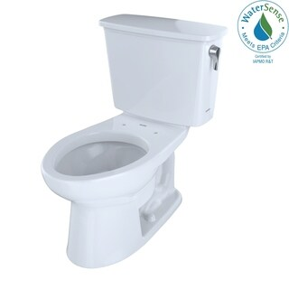 Toto Eco Drake Transitional Two-Piece Elongated 1.28 GPF Toilet with Right-Hand Trip Lever, Cotton White (CST744ERN#01)