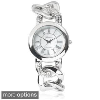 Geneva Platinum Stainless Steel Rhinestone Chain Watch|https://ak1.ostkcdn.com/images/products/9176666/P16352382.jpg?impolicy=medium