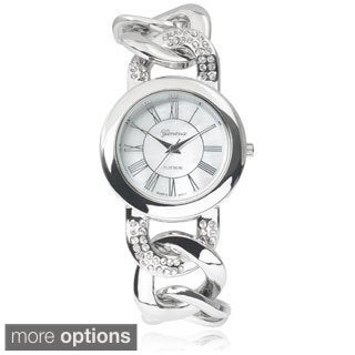 Geneva Platinum Stainless Steel Rhinestone Chain Watch