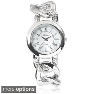 Geneva Platinum Stainless Steel Rhinestone Chain Watch