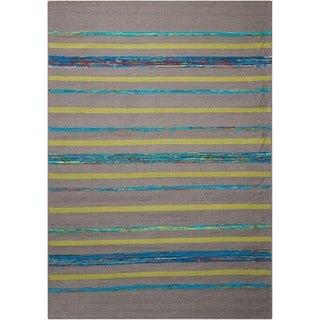 Nourison Spectrum Grey Turquoise Stripe Rug - 8' x 10'6