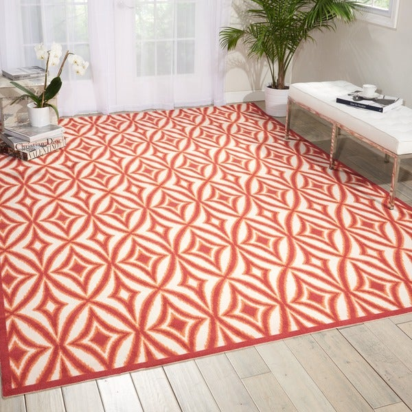 Waverly Sun N' Shade Centro Campari Indoor/ Outdoor Rug by Nourison - 7'9 x 9'9
