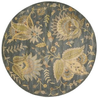 Hand Tufted Watton Floral Wool Rug 8 Square Free