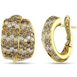 Miadora Signature Collection 18k Yellow Gold 4 1/4ct TDW Brown and White Diamond Earrings