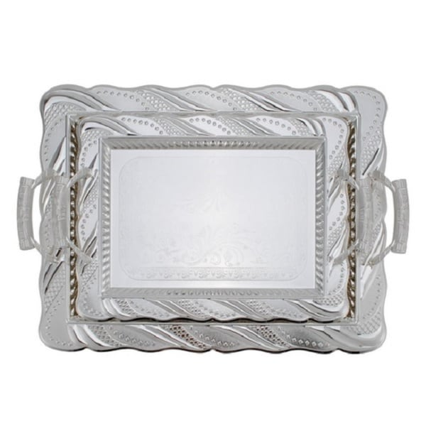 Alpine cuisine silvertone braided rim 2 piece tray set for Alpine cuisine flatware