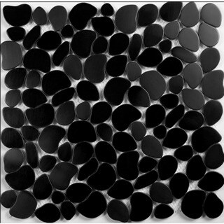 Black Pebble Mosaic Backsplash Kitchen Bathroom Tiles 12-inch Tiles (Set of 7)