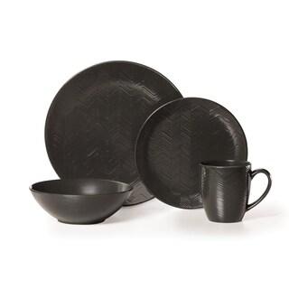 Mikasa Gourmet Basics Ridgewood Black 16-piece Dinnerware Set