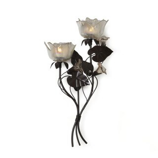 Mikasa 16-inch 2-light Peach Rose Sconce