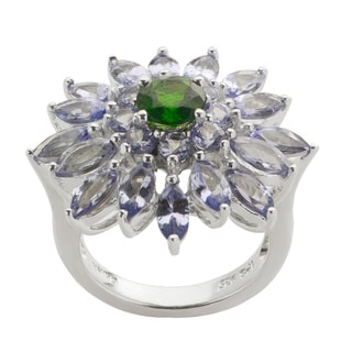 Gems For You Sterling Silver Genuine Tanzanite and Chrome Diopside Ring