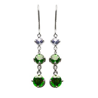 Gems For You Sterling Silver Genuine Tanzanite and Chrome Diopside Dangle Earrings