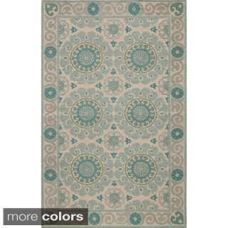 Uzbek Vibes Aqua Hand-Hooked Wool Indoor Rug (2' x 3')