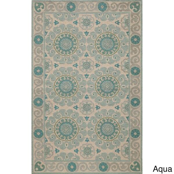 Momeni Suzani Hook Aqua Hand-Hooked Wool Rug (2' X 3')