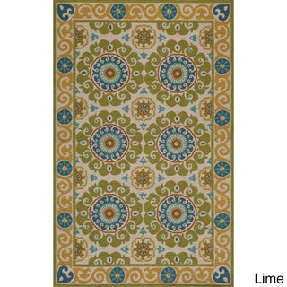 Momeni Suzani Hook Aqua Hand-Hooked Wool Rug (2' X 3') (Option: Blue/Green/Yellow/Ivory)