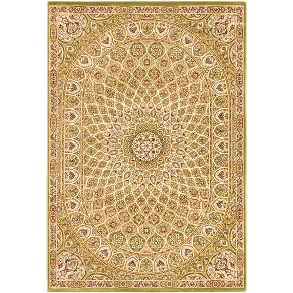 Persia Isfahan Light Green Medallion Rug - 5'3 x 7'7