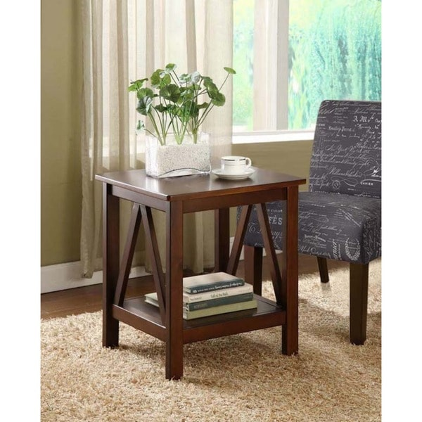 Linon Tiziano Side Table Aged Cherry Free Shipping Today