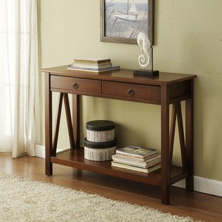 Linon Tiziano Sofa Table Aged Cherry Rectangular Top
