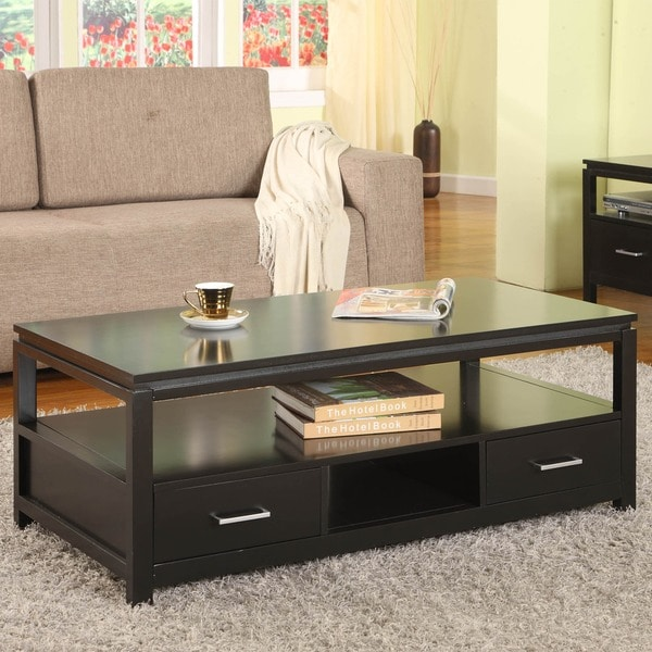 Porch & Den Mica Black Wood Coffee Table