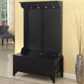 Linon Elsa Ebony Rub Thru Hall Tree with Storage Bench