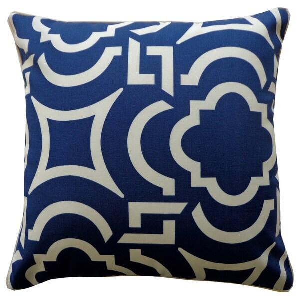 "Handmade Lattice Blue Geometric Pillow - 20"" x 20"""