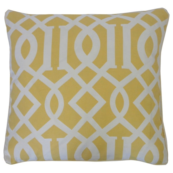 "Handmade Lattice Yellow Geometric Pillow - 20"" x 20"""