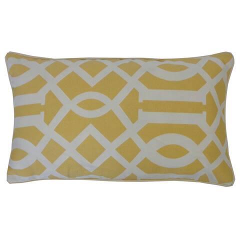 Jiti Yellow Lattice Geometric Sunbrella Outdoor Pillow - 12 x 20
