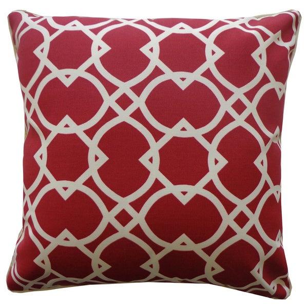 "Handmade Lattice Red Geometric Pillow - 20"" x 20"""