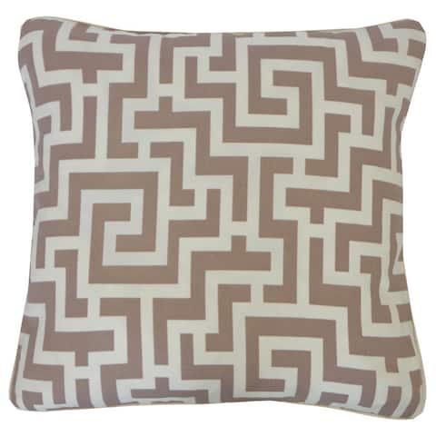 "Handmade Tetris Taupe Geometric Pillow - 20"" x 20"""