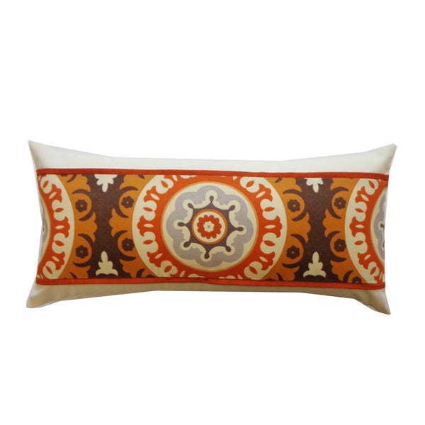 "Handmade Zanihe Orange Geometric Pillow - 12"" x 20"""