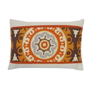 Jiti Orange Bohemian & Eclectic Geometric Sunbrella Outdoor Pillow - 12 x 18