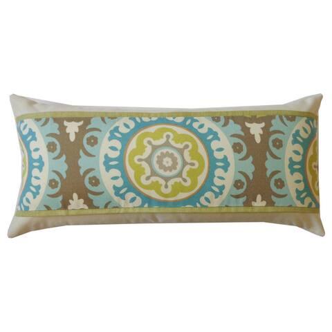 Jiti Green Zanihe Ikat Geometric Sunbrella Outdoor Pillow - 12 x 26 - 12 x 20
