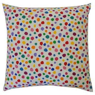 Fuzzy White Kids Polka Dot 20x20-inch Pillow
